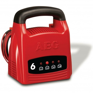 AEG Batterie-Ladegerät 12V 6A LED Anzeige Auto Kfz PKW Batterie-Lader Akku Kabel