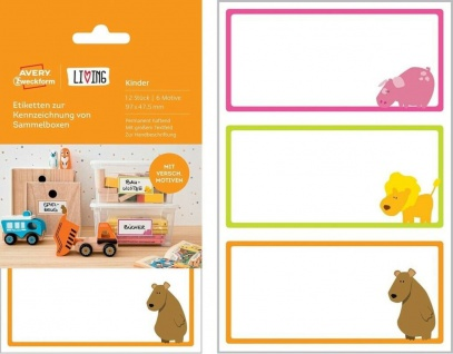 Avery 12 Kinder Namens-Aufkleber Sammelbox-Etiketten Haushalts-Etiketten Sticker