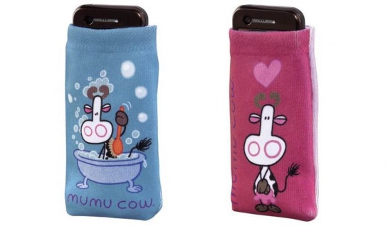 2x Set J-Straps Mumu Cow Deep Love + Bubbles Handy-Socke Tasche Schutz-Hülle Bag