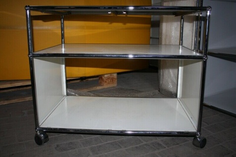 USM Haller Drucker-Wagen Fax Regal Sideboard auf Rollen 2 Fächer weiß Ablage - Vorschau 2