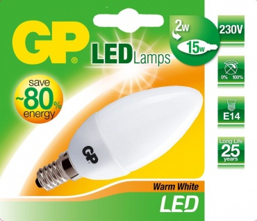 GP LED Kerze E14 2W / 15W Warmweiß Kerzen-Lampe Glühbirne Birne Leuchtmittel