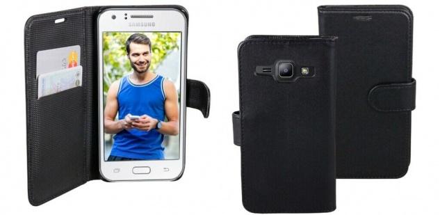 Patona Slim Flip Book-style Tasche Klapp-Etui Schutz-Hülle für Samsung Galaxy J1