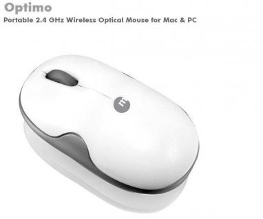 Macally USB Wireless Optimo Maus weiß kabellos Funk Optical Mouse Bamboo optisch