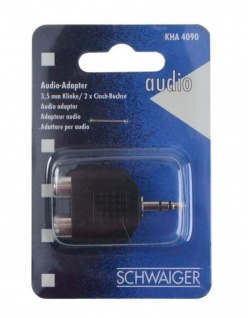 Schwaiger Audio Klinken-Adapter Stereo 3, 5mm Klinke-Stecker 2x Cinch-Buchse RCA
