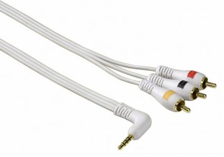 Hama Verbindungskabel 3, 5-mm-Klinkenstecker 4pol - 3 Cinch-Stecker 1, 5 m Weiß