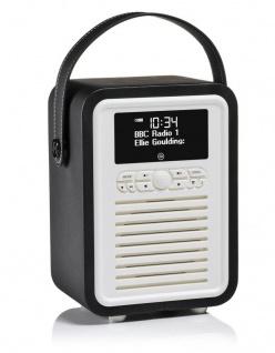 VQ Retro Mini Digital-Radio Black DAB DAB+ FM Bluetooth Weckfunktion AUX Wecker