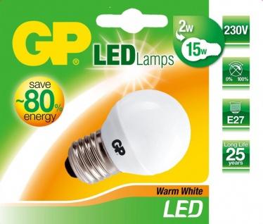 GP LED Mini Birne E27 2W / 15W Warmweiß LED-Lampe Golf-Ball Kugel Leuchtmittel