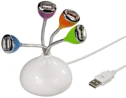 Hama USB-Hub 1:4 Flower LED Licht 4-Fach 4x Port bus-powered USB 2.0 PC Notebook
