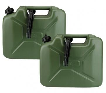 2x Kraftstoff-Kanister 10L Nato-Design Reserve-Kanister Benzin-Kanister 10 Liter
