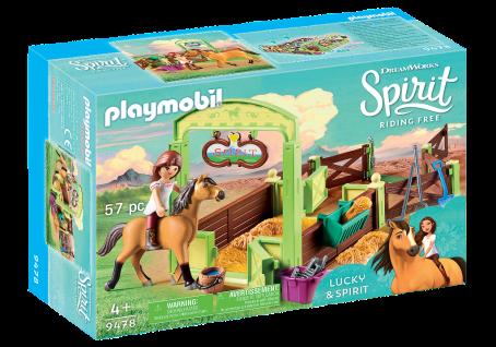 "Playmobil 9478 Pferdebox "" Lucky & Spirit"" Pferdestall Koppel Pferd Spielzeug"