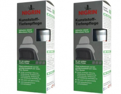 2x Nigrin Kunststoff Tiefenpflege Seidenmatt 300ml Spray Pfleger Mikrofaser-Tuch