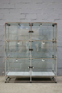USM Haller Vitrine 6 Fächer + Sockel Glas Regal Türen Licht Klappe Glasvitrine