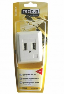 Vivanco TAE Telefon-Dose Aufputz-Dose AP 2-Fach TAE-N TAE-F NF Telefon Fax AB