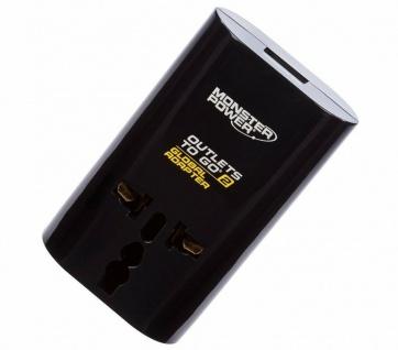 Monster Reise-Stecker Strom-Adapter + USB Welt Europa Euro EU DE UK US USA AUS