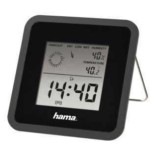 Hama LCD Thermometer Hygrometer TH50 Uhr Wetter-Station Wecker