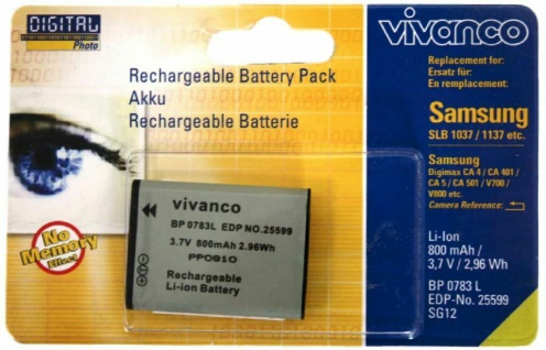 Vivanco Akku für Samsung SLB-1137 1137D SLB-1037 Digimax CA-V800 V700 501 401 4