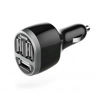 Hama 3-fach USB-KFZ-Ladeadapter Auto Ladegerät für Samsung Sony LG Huawei Xiaomi