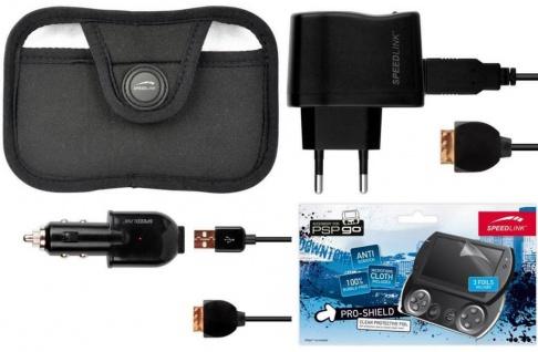 Speedlink Pack Kfz Lader Netz-Ladegerät Tasche Folie für Sony PSP GO Konsole