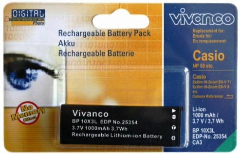 Vivanco Li-Ion Akku für Casio NP-50 NP50 EXILIM EX-V8 EX-V7 V8SR V7SR NP50BA ...