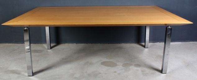 Großer 220cm Konferenz-Tisch Holz-Tisch Esszimmer mit Chromgestell 4 Beinen