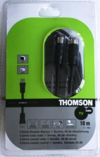 Thomson 10m Antennen-Kabel 80db 100Hz Koaxial-Kabel Koax schwarz für TV LED LCD
