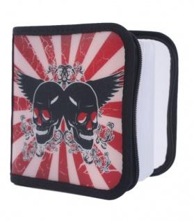 Hama 24er CD DVD Blu-Ray Tasche Skull Wallet Case Aufbewahrung Hülle Mappe Box