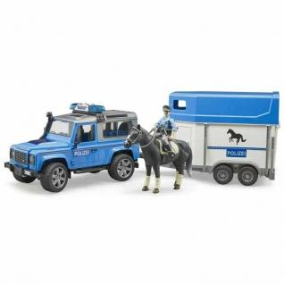 Bruder 02588 Land Rover Defender Polizeifahrzeug mit Pferdeanhänger Polizeiwagen