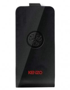 Kenzo Flip-Cover Klapp-Tasche Black Schutz-Hülle Case Etui für Apple iPhone 4s 4
