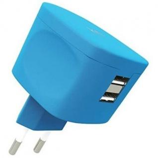 KIT FRESH Dual USB-Ladegerät 3.4A Blau Netzteil Reise-Lader 2-Port Netz-Lader