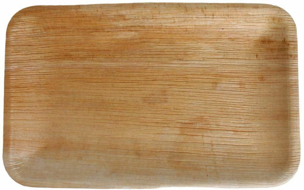30x Palmblatt Teller rechteckig 15 x 23 cm Bio Einweg Eco-Geschirr kompostierbar