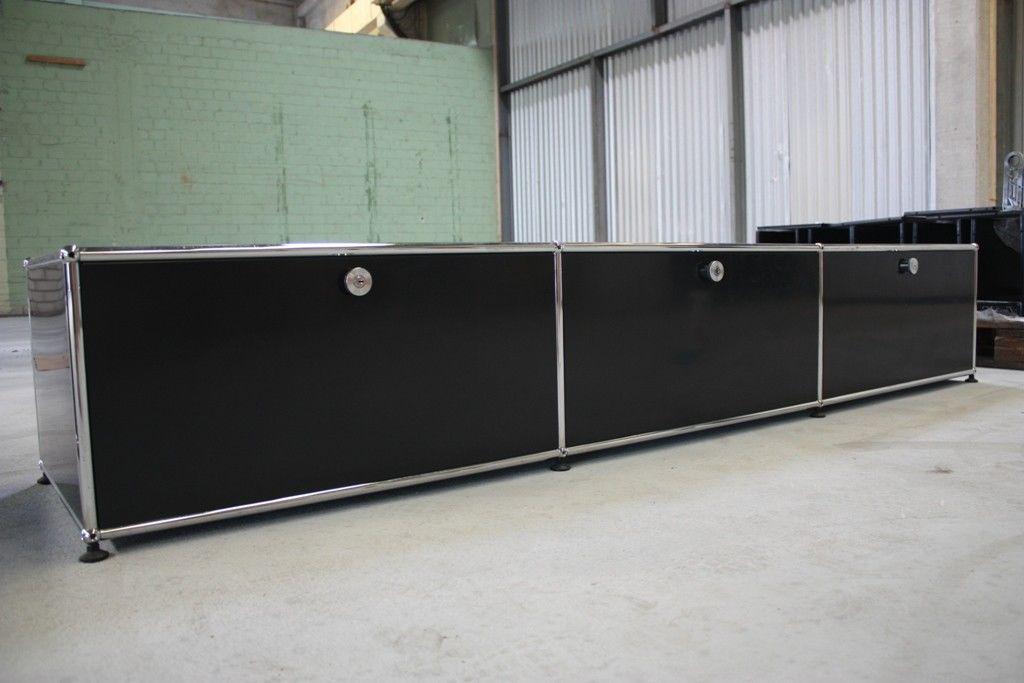 usm haller lowboard 3 klappen tv board regal hifi board schwarz medienregal kaufen bei koka. Black Bedroom Furniture Sets. Home Design Ideas