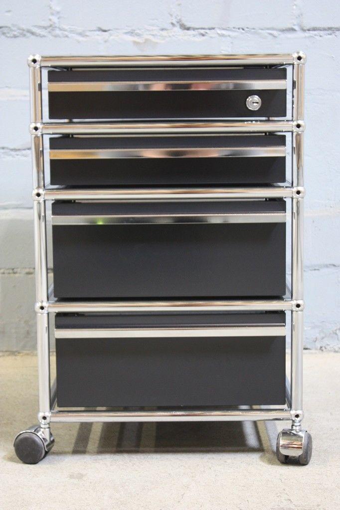 usm haller schreibtisch container rollcontainer 4 ausz ge 1x schloss schwarz kaufen bei koka. Black Bedroom Furniture Sets. Home Design Ideas