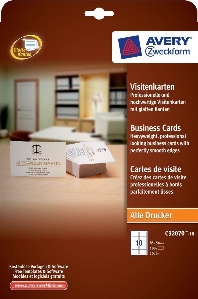 Avery Zweckform 80x Profi Visitenkarten Karten Glatte Kanten