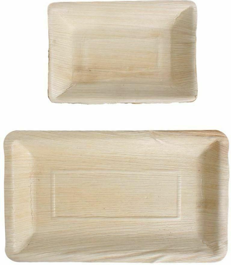 Größen Bio Eco-Geschirr 100x Palmblatt Einweg-Teller Party-Schalen rechteckig v