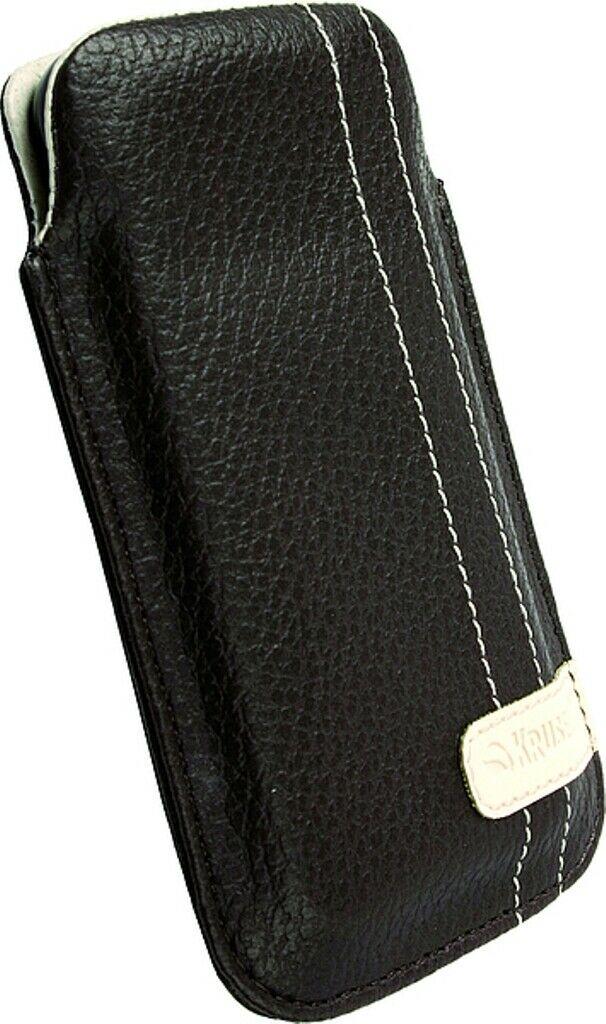 Krusell Gaia Mobile Pouch M brown Leder Tasche Etui Flap Bag Hülle