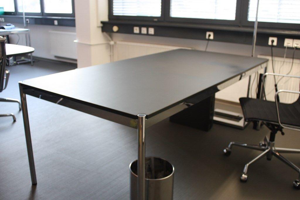 Usm haller lino linoleum tisch schwarz 200x100 cm for 2m schreibtisch