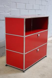 USM Haller Design Sideboard Regal Rot 3 Fächer 2 Klappen Büroregal Aktenregal