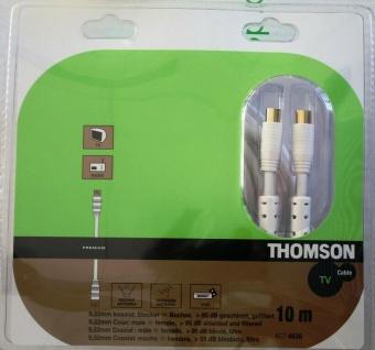 Thomson 10m Antennen-Kabel 95db 100Hz Koaxial-Kabel Koax weiss für TV Sat Box ..