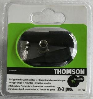 Thomson F-Stecker Set 2x F-Typ Stecker 2x Gummi-Tülle Wetterschutz Isolierkappe