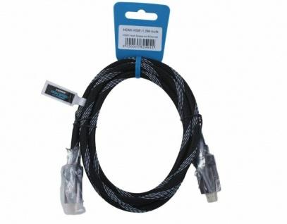 High Speed HDMI-Kabel 1, 5m mit Ethernet Metall-Stecker vergoldet Gewebe-Mantel