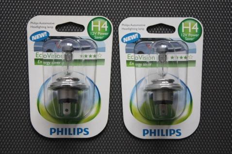 2x Philips H4 Halogen Eco Vision 12V Auto-Lampen Glüh-Lampen Glüh-Birnen Birne