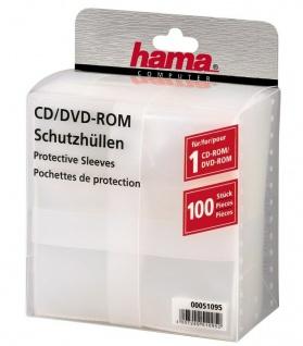 Hama 100x PP Kunststoff Schutz-Hüllen CD-Hüllen Sleeves CD DVD Blu-Ray CD-Tasche