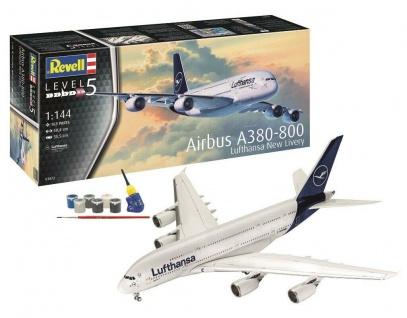 Revell Airbus A380-800 Lufthansa-Bundle New Livery mit 6 Aqua Color Hauptfarben