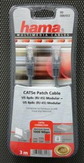 Hama HQ Cat5e Patch-Kabel UTP 3m Netzwerk-Kabel RJ45 LAN 1000 Mbps grau Cat5
