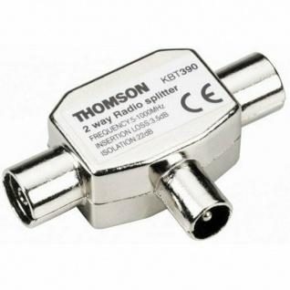 Thomson TV Radio Splitter T Antennen-Adapter Verteiler IEC 2-Fach Koaxial Koax