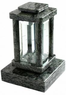 Grab-Lampe mit Grab-Sockel Granit Oliven Grün Grabschmuck Untersetzer Grab-Licht