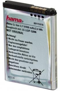 Hama Li-Ion Akku Batterie für LG LGIP-520N Crystal GD900 New Chocolate BL40 etc