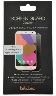 Telileo Hart-Glas Display-Folie Schutz-Folie Panzer für Apple iPhone 5 5s SE