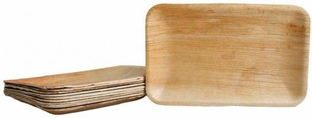 100x Palmblatt Einweg Teller rechteckig 15x23 cm Bio Eco-Geschirr kompostierbar