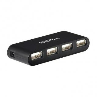 Sepia 4-Port 2.0 USB Hub mit externem Netzteil Verteiler Extender 4-Fach Ports